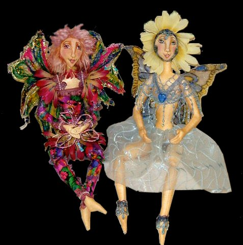 Rainbow and Buttercup, a doll by Patti LaValley