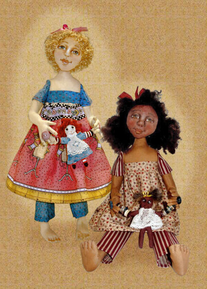 Molly and her button dolly, a doll by Patti LaValley